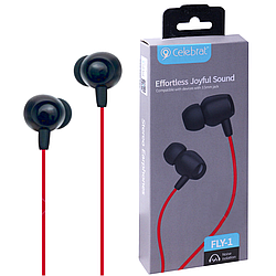 """Навушники """"Celebrat FLY-1"""" з мікрофоном круглий дріт, червоні"""