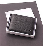 Мужской кожаный кошелек черный c зажимом, портмоне Cardinal