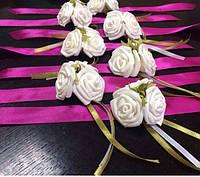Бутоньерка браслет из цветов для девичника белый, фото 1