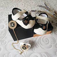 Белые туфли пинетки Chanel, фото 1