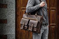 Кожаный мужской портфель для ноутбука, Сумка кожаная для документов коричневая