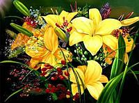 25х20 см алмазная мозаика ЛИЛИИ вышивка картина мозаїка діамантова вишивка квіти желтый букет 25 х 20