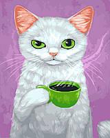 """Картина по номерам BrushMe (Брашми) """"Кот-сударь с кофе"""" 40х50 см GX23648"""