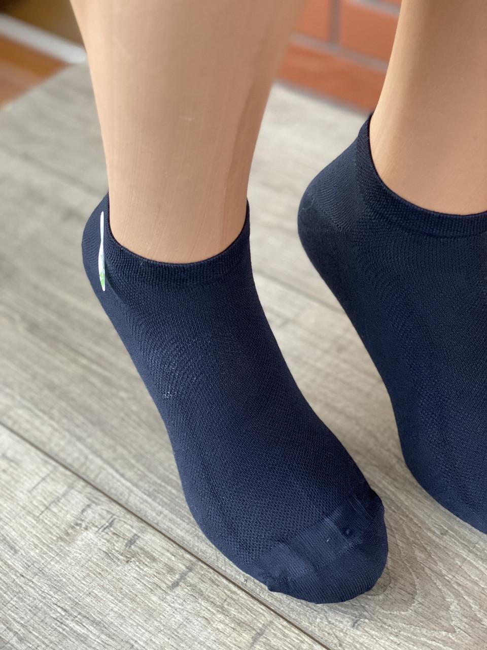 Чоловічі шкарпетки короткі бамбук BYT однотонні в сітку 40-45 12 шт в уп чорні білі світло сірі сині бежеві