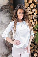 Блузка с брошкой бант (арт.779) белая, фото 1