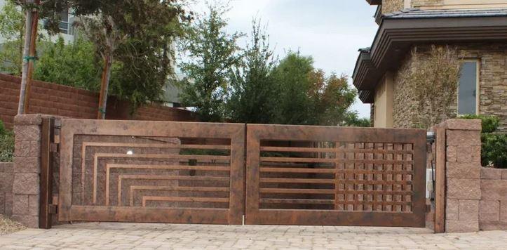 Дизайнерские ворота RUSTIC металлические распашные за 1м2