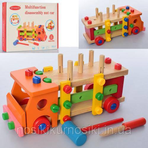 Деревянная игрушка Машинка-конструктор стучалка MD 2265