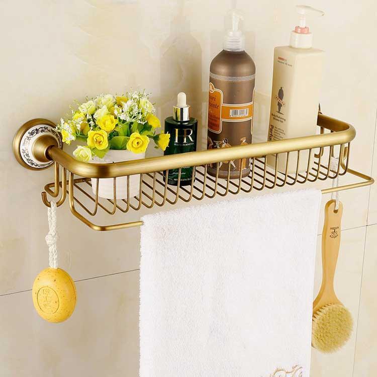 Полочки для ванной Deco Полочка с держателем для полотенца Deco DB041, бронза