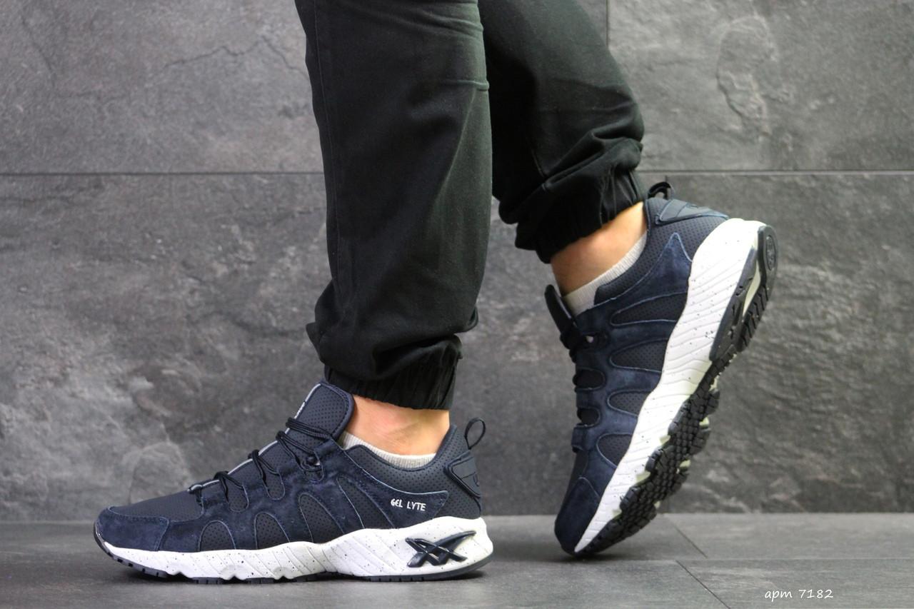 Мужские кроссовки Asics, замшевые демисезонные в цветах Темно синие с белым, 44