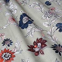 Декоративная ткань рисованные цветы синие и бордовые 85738v3
