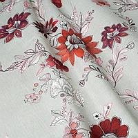 Декоративная ткань цветы бордовые на льне 280см Италия 85739v4