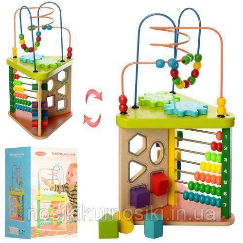 Деревянная игрушка Развивающий центр - счеты, лабиринт, сортер MD 1258