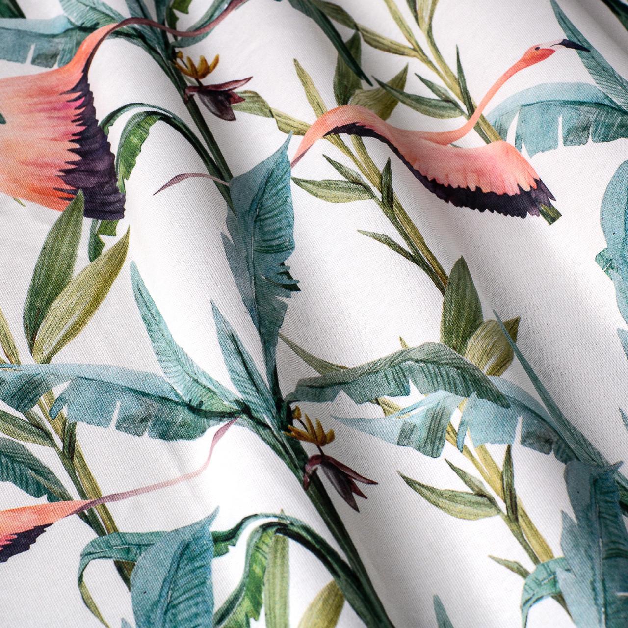Декоративная ткань с голубыми растениями и розовыми фламинго на белом для подушек на диван 84301v1