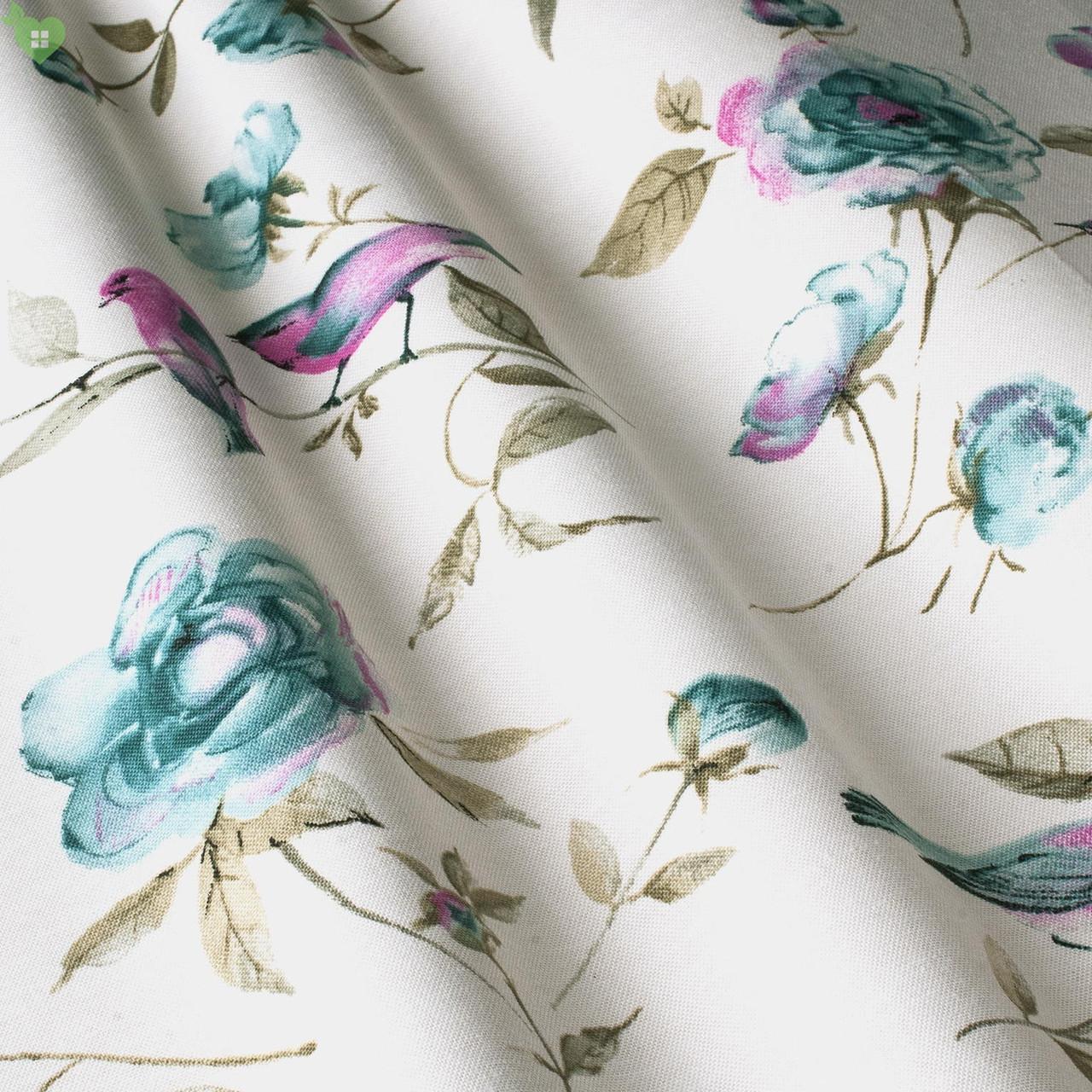 Декоративная ткань с голубыми цветками на стебельках и фиолетовыми птичками Турция 83579v1