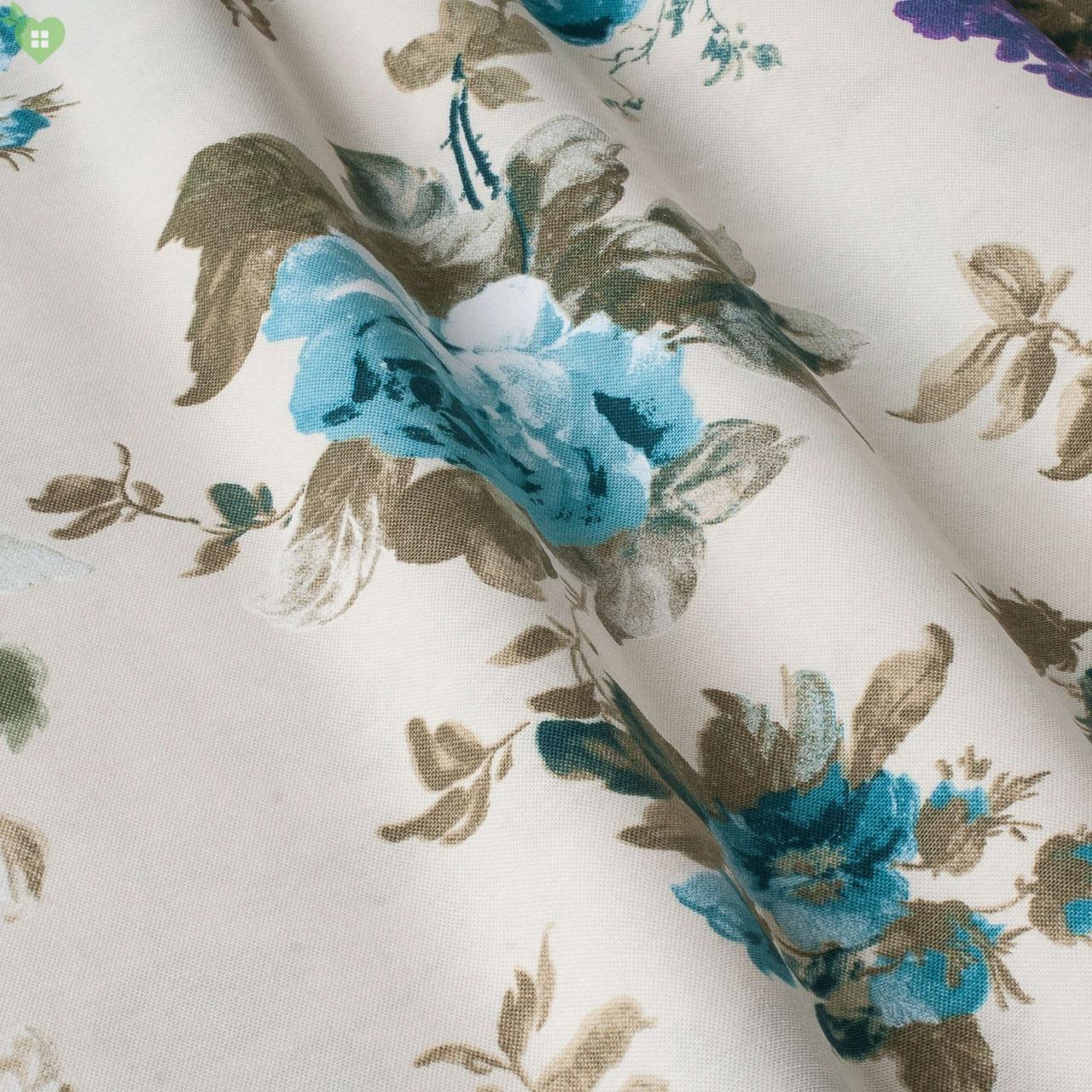 Декоративная ткань с крупными голубыми и синими цветками на зеленых веточках с тефлоном Турция 83563v16