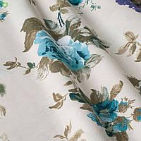 Декоративная ткань с крупными голубыми и синими цветками на зеленых веточках с тефлоном Турция 83563v16, фото 1