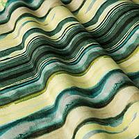 Декоративная ткань с размытыми желто-голубыми полосами Испания 83372v2