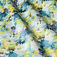 Декоративная ткань с мелкими размытыми цветами бежево желтого и голубого цвета Испания 83370v2