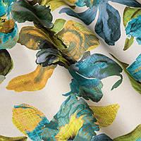 Декоративная ткань с крупными бежево-голубыми цветами нанесенными крупными мазками художника Испания 83369v2