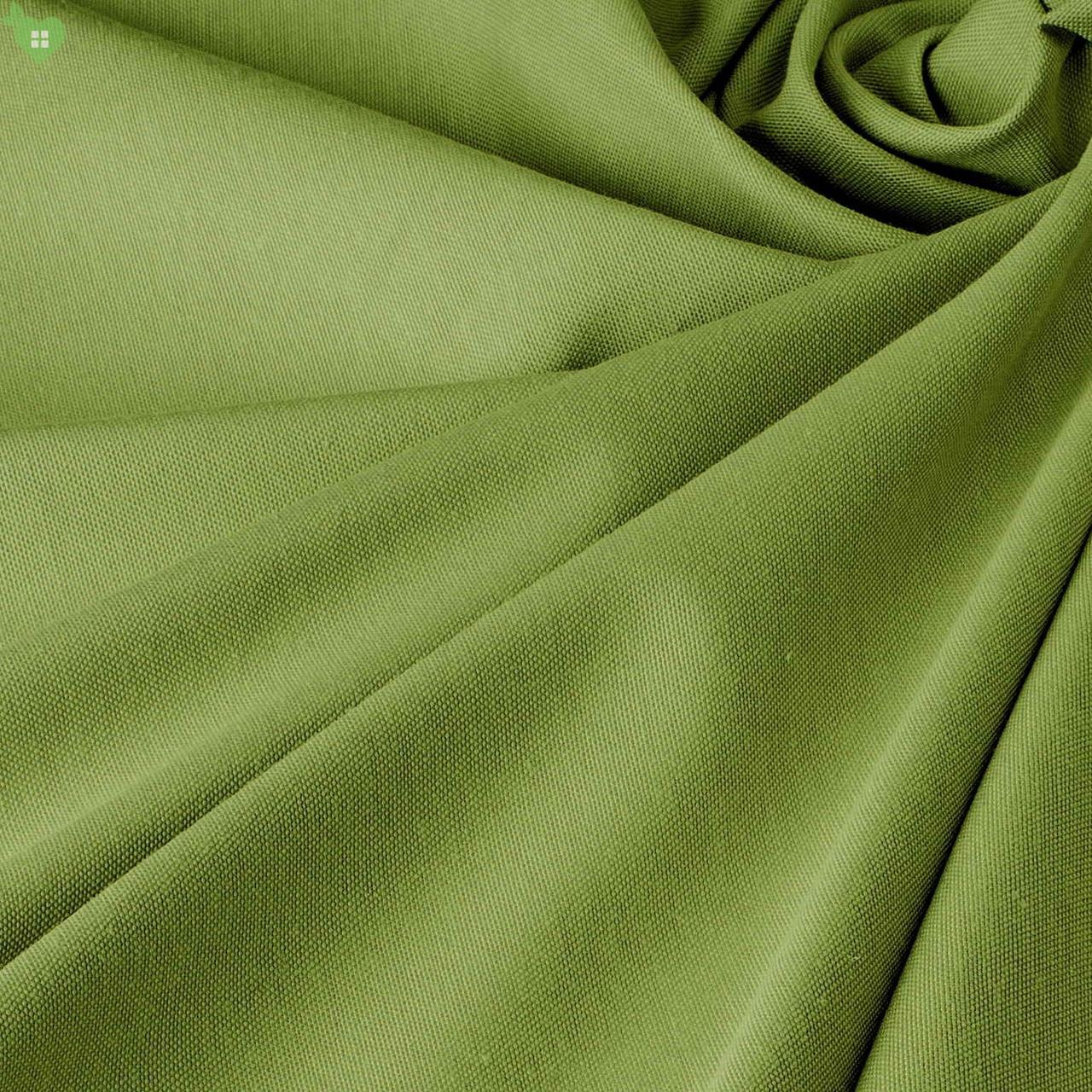 Однотонная декоративная ткань болотного цвета с тефлоном DRY-81129