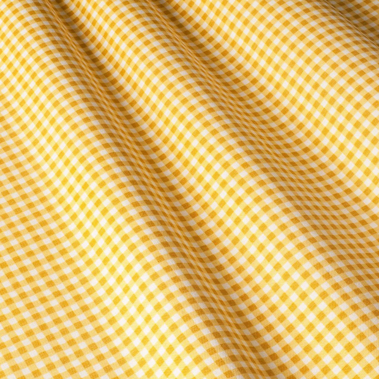 Декоративная ткань мелкая клетка желтая с тефлоном 83178v11