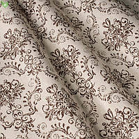 Декоративная ткань с узорами коричневого цвета в виде вензеля на светло-розовом фоне Испания 82692v6, фото 1