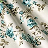 Декоративная ткань крупные голубые розочки на веточках с открытыми и закрытыми бутонами Турция 82586v11, фото 1