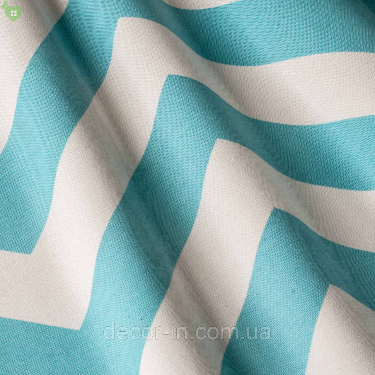 Декоративная ткань с васильковыми зигзагами на белом с тефлоном 82595v9