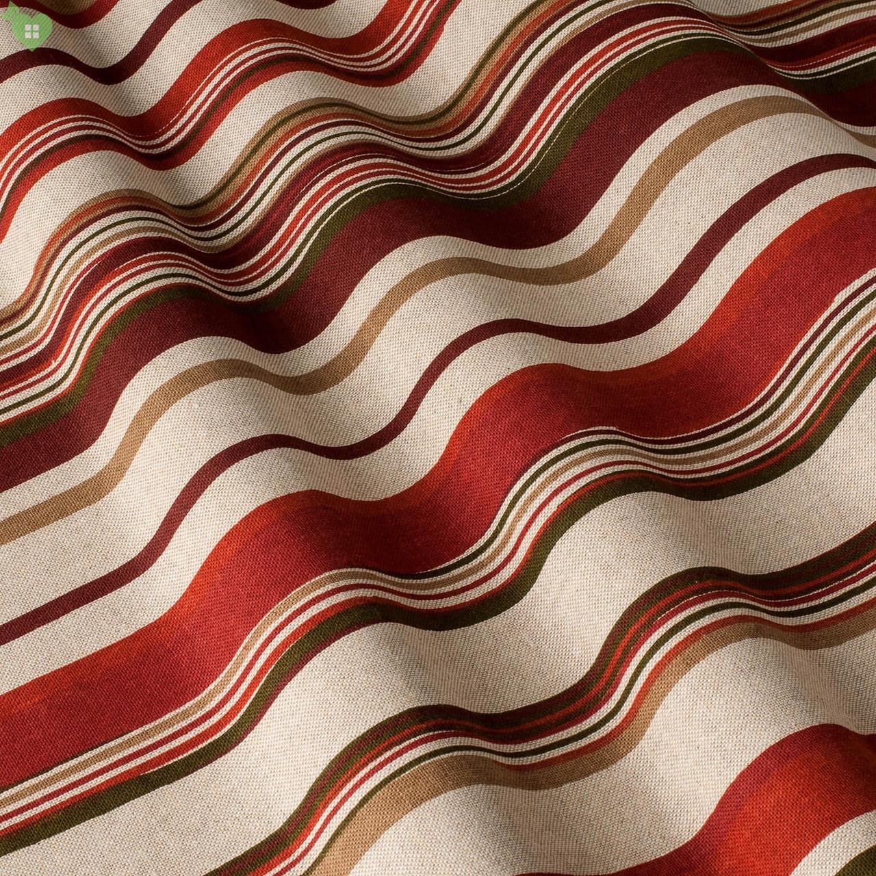 Декоративная ткань в мелкую полоску бордового и коричневого цвета на белом Испания 82081v1