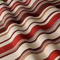 Декоративная ткань в мелкую полоску бордового и коричневого цвета на белом Испания 82081v1, фото 1