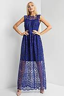 Прозрачное вечернее платье в пол синего цвета с вышивкой и пайетками