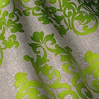 Декоративная ткань зеленый вензель на серебряном фоне Испания 82558v2