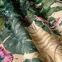 Декоративная ткань с тропическими бабочками фиолетового цвета и зелеными растениями Испания 82910v2