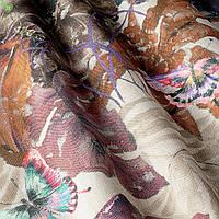 Декоративная ткань с тропическими бабочками и растениями коричневого цвета Испания 82909v1