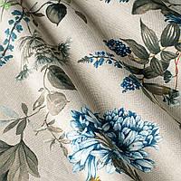 Декоративная ткань с мелкими полевыми цветами василькового цвета на светло-сером фоне Испания 82825v2, фото 1