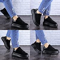 Женские черные кроссовки на платформе Jeffy 1714 Эко-замша  Размер 39 - 24,5 см по стельке, обувь женская