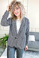 Классический клетчатый женский пиджак LUREX - серый цвет, S (есть размеры), фото 1