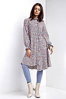 Свободное хлопковое платье-туника рубашечного кроя с воланом и асимметричным низом