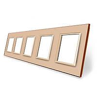 Рамка розетки Livolo 5 постов золото стекло (VL-C7-SR/SR/SR/SR/SR-13), фото 1