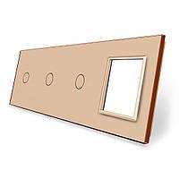 Сенсорная панель выключателя Livolo 3 канала и розетку (1-1-1-0) золото стекло (VL-C7-C1/C1/C1/SR-13), фото 1