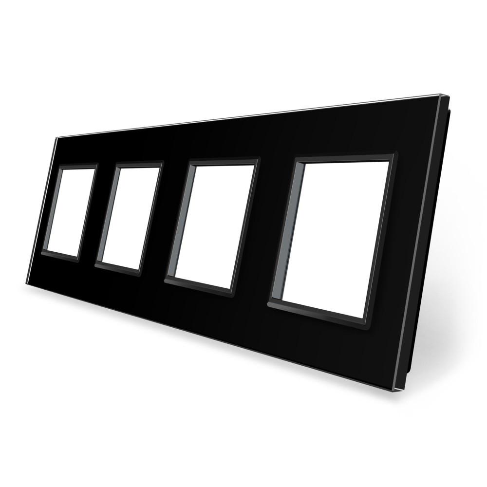 Рамка розетки Livolo 4 поста черный стекло (VL-C7-SR/SR/SR/SR-12)