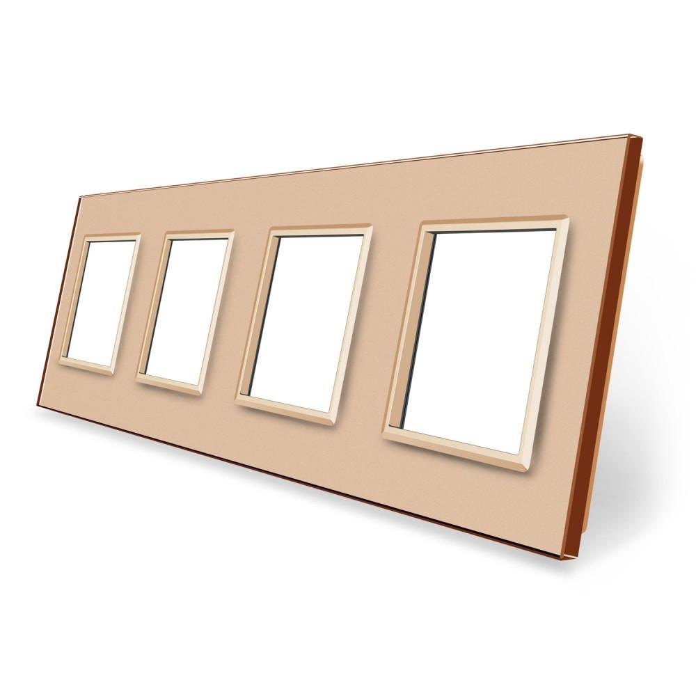 Рамка для розетки Livolo 4 поста золото стекло (VL-C7-SR/SR/SR/SR-13)