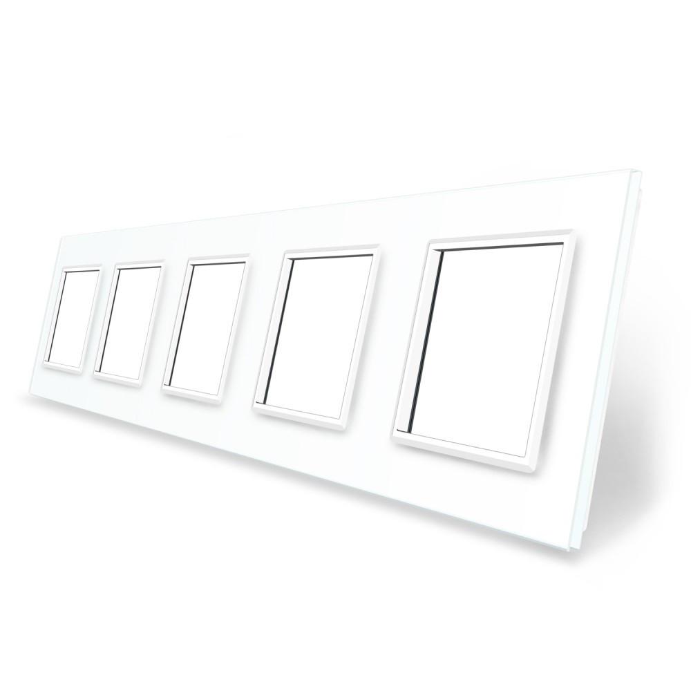 Рамка розетки Livolo 5 постов белый стекло (VL-C7-SR/SR/SR/SR/SR-11)