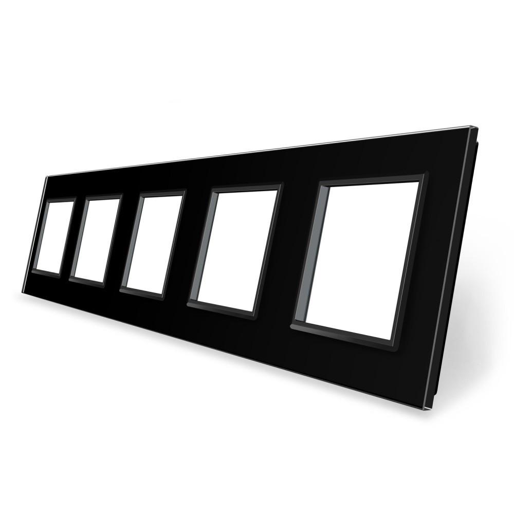 Рамка розетки Livolo 5 постов черный стекло (VL-C7-SR/SR/SR/SR/SR-12)