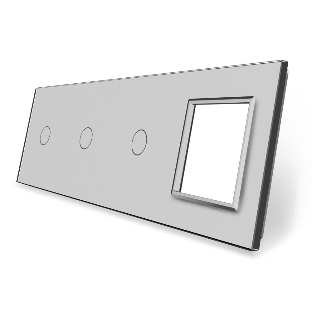 Сенсорная панель выключателя Livolo 3 канала и розетку (1-1-1-0) серый стекло (VL-C7-C1/C1/C1/SR-15)