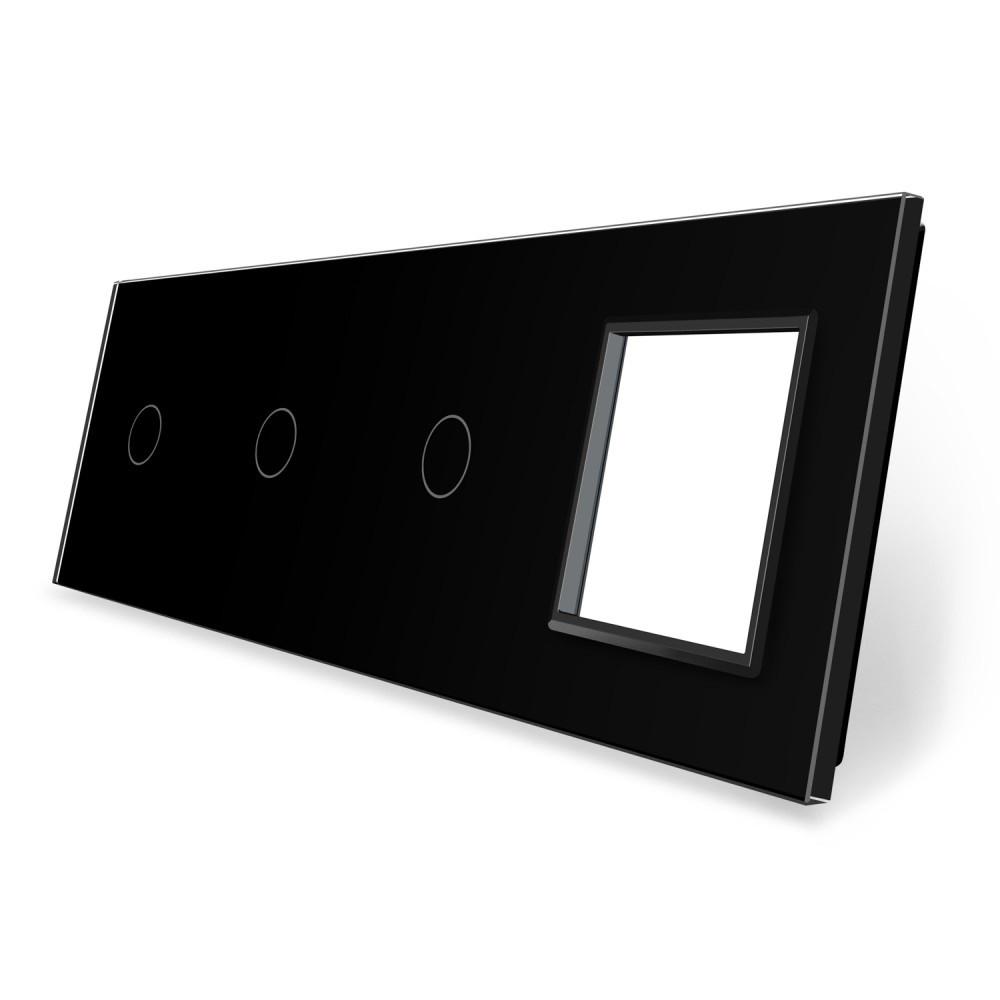 Сенсорная панель выключателя Livolo 3 канала и розетку (1-1-1-0) черный стекло (VL-C7-C1/C1/C1/SR-12)