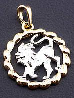 Кулон для цепочки знак зодиака ЛЕВ кулон круглой формы медицинский сплав с родиевым покрытием и позолотаXUPING