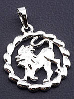 Кулон для цепочки знак зодиака ЛЕВ кулон круглой формы медицинский сплав с родиевым покрытием XUPING
