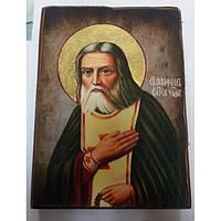 Серафим Саровский Икона  Греческая под старину ХОЛСТ НИМБЫ 16х22