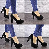 Туфли женские черные Arlo на высоком каблуке 1467 Эко-замша  Размер 37 - 23,5 см по стельке, обувь женская